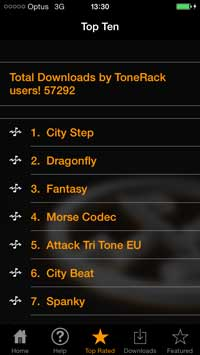 ToneRack Screenshot - Top Ten